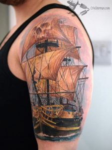 Tattoo of old ships