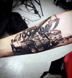 tow-truck-mens-inner-foream-tattoo-with-realistic-3d-design